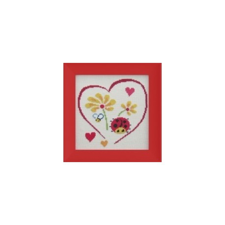 Coeur Coccinelle mouton rouge broderie