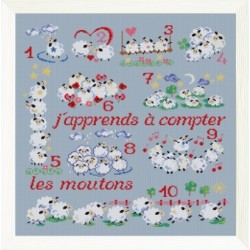 J'apprends à compter mouton rouge broderie