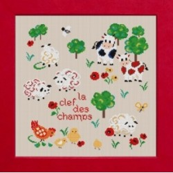 Clef des Champs mouton rouge broderie
