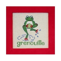 Grenouille mouton rouge broderie