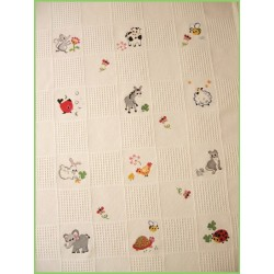 Plaid Animaux coton   mouton rouge broderie