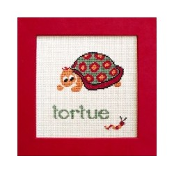 Tortue mouton rouge broderie