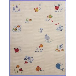 Plaid Poisson Laine mouton rouge broderie
